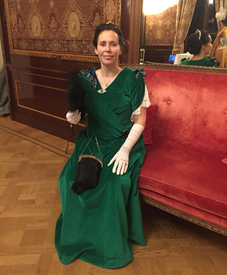 1890's Green Velvet Evening Gown